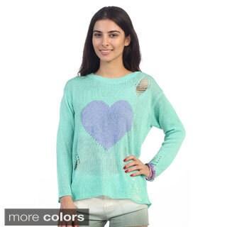 Hadari Junior's Knit Long Sleeve Heart Print Sweater