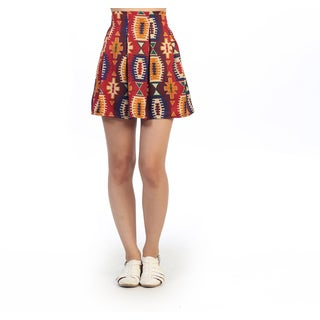 Hadari Junior's Tribal Geometric High Waisted Skirt