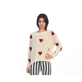 Hadari Junior's Long Sleeve Heart Print Sweater