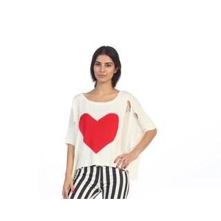 Hadari Junior's Red Heart Dolman Sleeve Knit Sweater