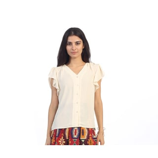Hadari Junior's White Button-up V-neck Sheer Blouse