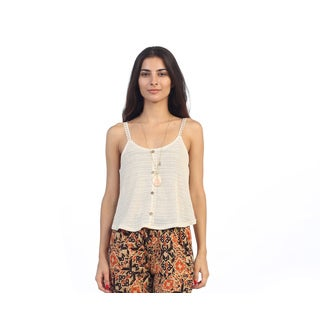 Hadari Junior's White Sleeveless Button-up Top