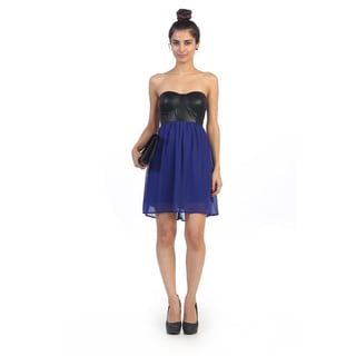 Hadari Junior's Leather Strapless Shift Dress