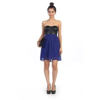 Hadari Junior's Leather Strapless Shift Dress