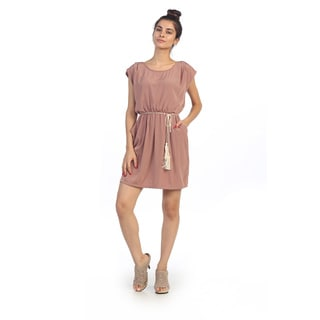 Hadari Junior's Blush Pink Waist Tie Shift Dress