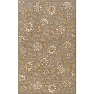 Handmade European Floral Light Grey Wool Rug (5 x 8)