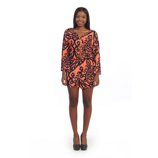 Hadari Women's Damask Long Sleeve V-neck Romper
