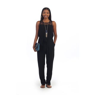 Hadari Women's Black Scoop Neck Jumpsuit