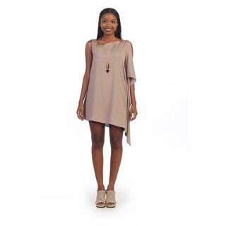 Hadari Women's Beige Sleeveless Shift Dress