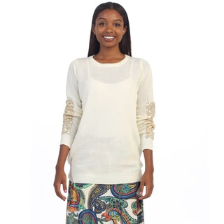 Hadari Women's Sequin Long Sleeve Knit Sweater