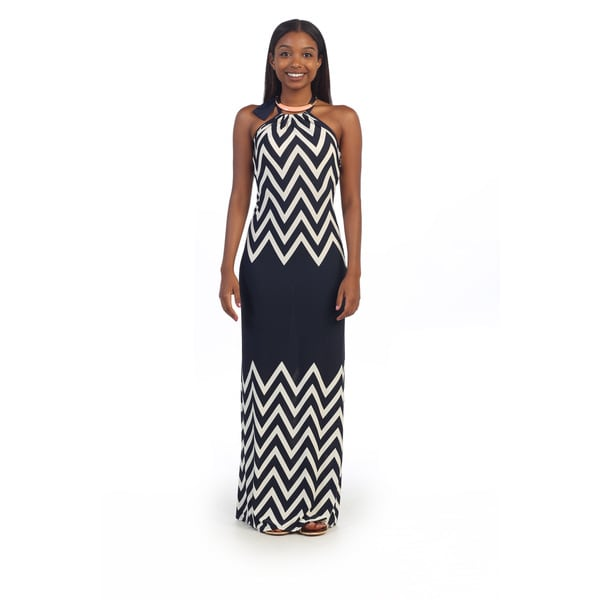 Hadari Women's Navy Chevron Halter Maxi Dress
