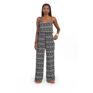 Hadari Women's Black Geometric Sleeveless Jumpsuit