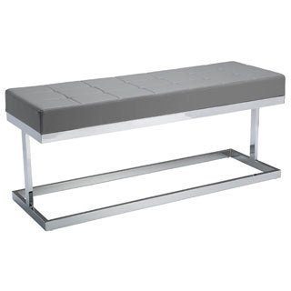 Sunpan 'Ikon' Viceroy Grey Faux Leather Upholstered Bench