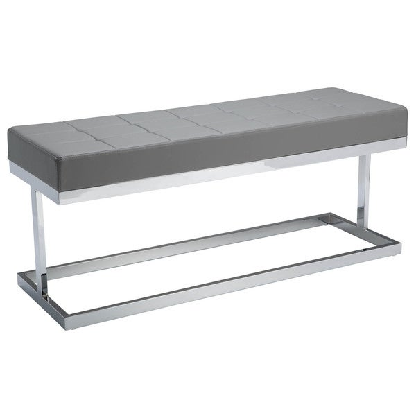 Sunpan 'Ikon' Viceroy Grey Faux Leather Upholstered Bench 13391345