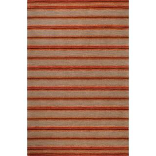 Handmade Modern Stripe Peach Wool Rug (5 x 8)