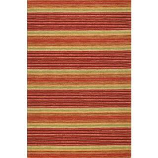 Handmade Modern Stripe Rust Wool Rug (5 x 8)
