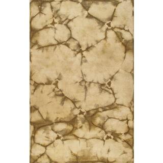 Handmade Contemporary Beige Green Wool Rug (5 x 8)