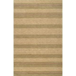 Handmade Modern Stripe Green Rug (5 x 8)