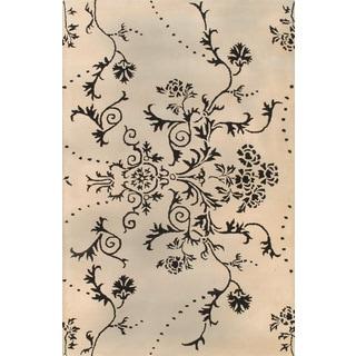 Handmade Floral Ivory Black Wool Rug (5 x 8)
