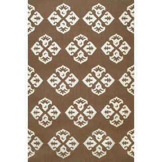 Hand-woven Moroccan Dhurrie Brown Wool Rug (8' x 10')