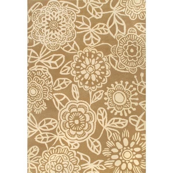 Handmade Sepectrum Floral Beige Wool Rug (5 x 8)
