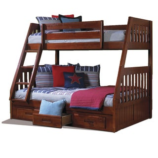 Solid Pine Twin-over-full Bunk Bed with Drawers