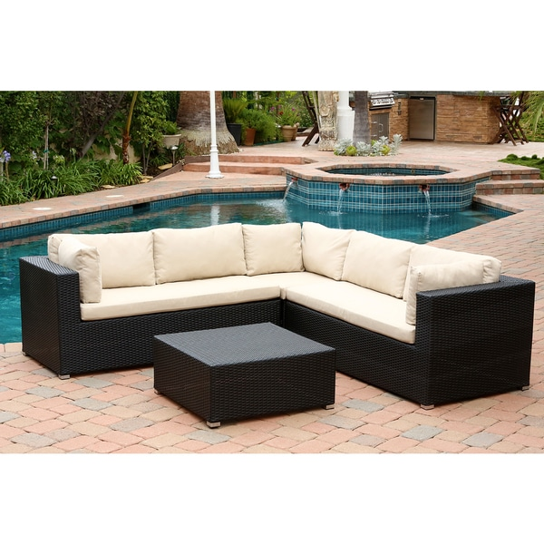 ABBYSON LIVING Pasadena Outdoor Black Wicker Sectional and Ottoman Set
