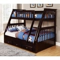 Solid Pine Espresso Twin-over-full Bunk Bed with Three Drawers