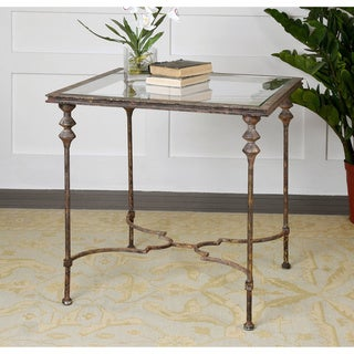 Quillon Antique Gold Finish End Table