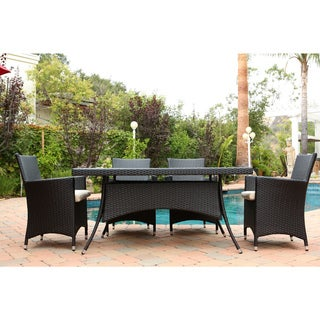 Abbyson Living Pasadena Outdoor Black Wicker 7-piece Dining Set