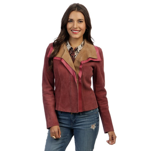 Escada Women's 'Lette' Pink and Tan Leather Jacket - Overstock