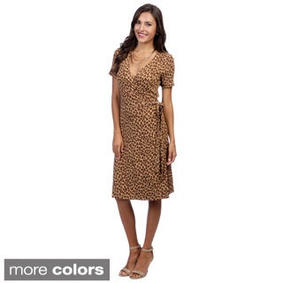 Escada Women's Essey Leopard-print Jersey Wraparound Dress