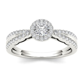 De Couer 10k White Gold 1/2ct TDW Diamond Solitaire Engagement Ring (H-I, I1-I2)