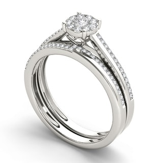 De Couer 10k White Gold 1/3ct TDW Diamond Engagement Ring Set (H-I, I1-I2)