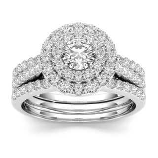De Couer 10k White Gold 1 1/2ct TDW Double Halo Diamond Engagement Ring (H-I, I1-I2)