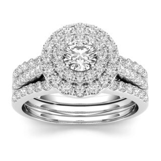 De Couer 10k White Gold 1 1/2ct TDW Double Halo Diamond Engagement Ring (H-I, I1-I2) with Bonus Necklace