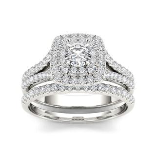 De Couer 10k White Gold 1ct TDW Diamond Double Halo Engagement Ring (H-I, I1-I2)