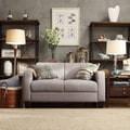 TRIBECCA HOME Clove Grey Linen Contemporary Loveseat