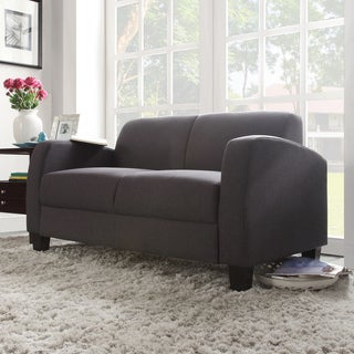 TRIBECCA HOME Clove Dark Grey Linen Contemporary Loveseat