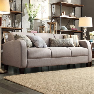 TRIBECCA HOME Clove Grey Linen Contemporary Sofa