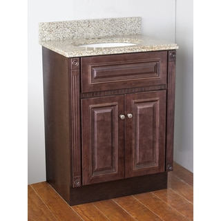 Cherry Stained Vanity and Sunset Gold Granite Top and Oval Bowl