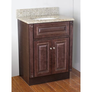 Cherry Stained Vanity and Sunset Gold Granite Top
