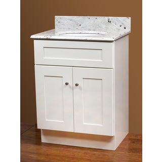 White Vanity and River White Granite Top