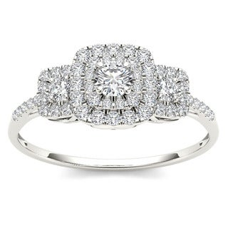 De Couer 10k White Gold 1/2ct TDW Diamond Double Halo Engagement Ring (H-I, I1-I2) with Bonus Necklace