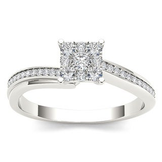 De Couer 10k White Gold 1/3ct TDW Diamond Engagement Ring (H-I, I1-I2)