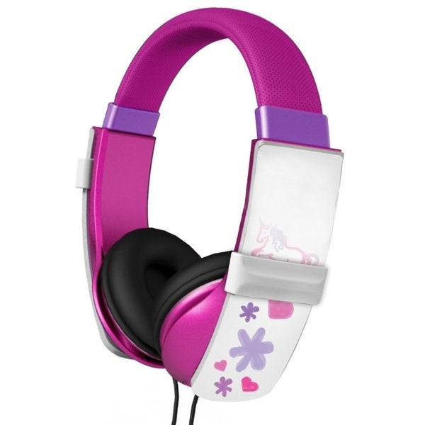 iHip IP-DOODLE-P Kids Safe Doodle Pink Erasable Drawing Headphones with Four Built-in Markers