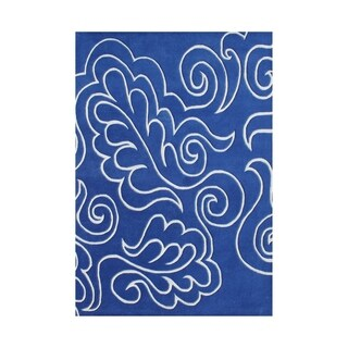 Alliyah Handmade Blue New Zealand Blended Wool Rug (5 x 8)