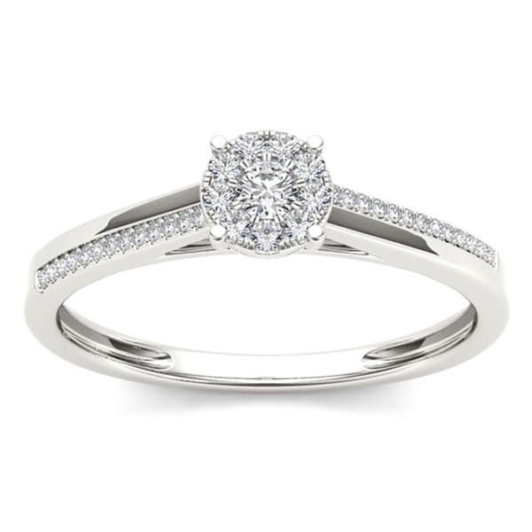 De Couer 10k White Gold 1/6ct TDW Diamond Composite Engagement Ring (H-I, I2)