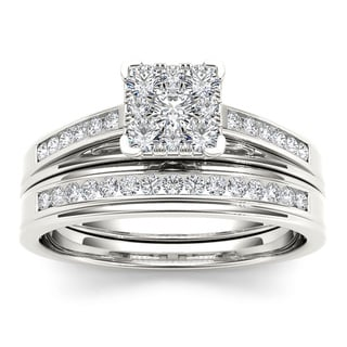 De Couer 10k White Gold 1/2ct TDW Diamond Square Shape Bridal Set (H-I, I2)