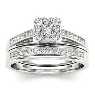 De Couer 10k White Gold 1/2ct TDW Diamond Square Shape Bridal Set (H-I, I2)